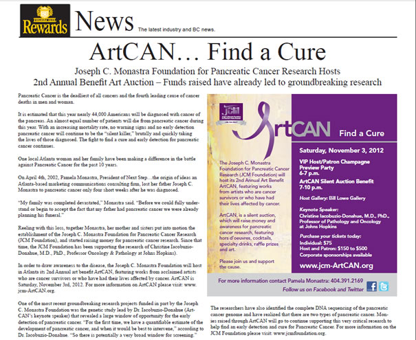 Builders Club Rewards News ArtCAN...Find a Cure Joseph C. Monastra